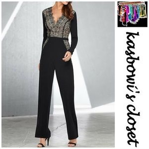 VENUS Black Lace Dressy Jumpsuit SZ S Holiday